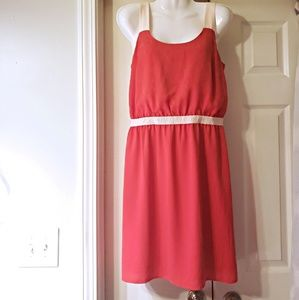 NWOT ANN TAYLOR LOFT DRESS ORANGE AND CREAM SIZE 4